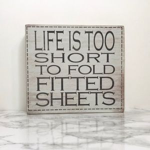 Block Laundry Fitted Sheets Sign Home Accent Decor
